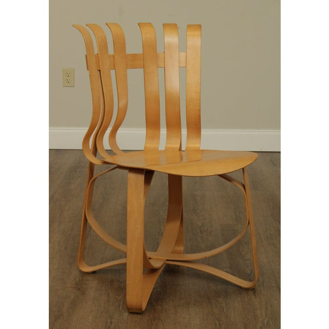 "Almond Frank Gehry for Knoll Bent Wood Pair ""Har Trick"" Chairs For Sale - Image 8 of 13"