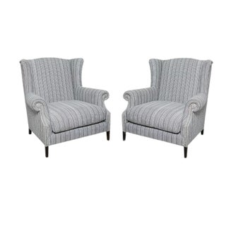 Pair of Studded Wingback Chairs For Sale