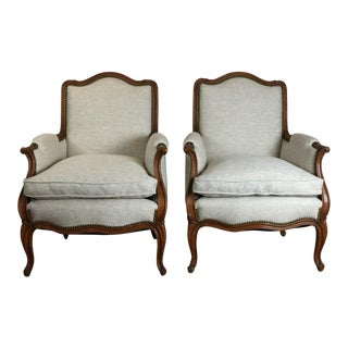 1950s Vintage Louis XV Style Club Chairs- A Pair For Sale