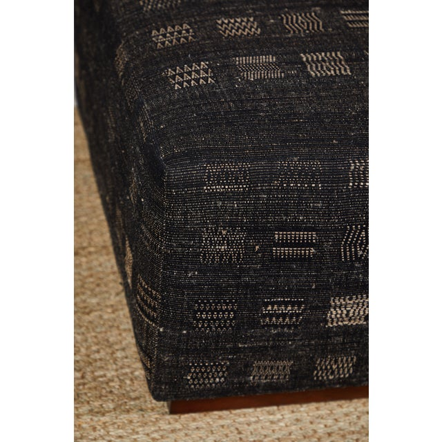 Handwoven Indian Fabric Upholstered Ottoman For Sale In Los Angeles - Image 6 of 10