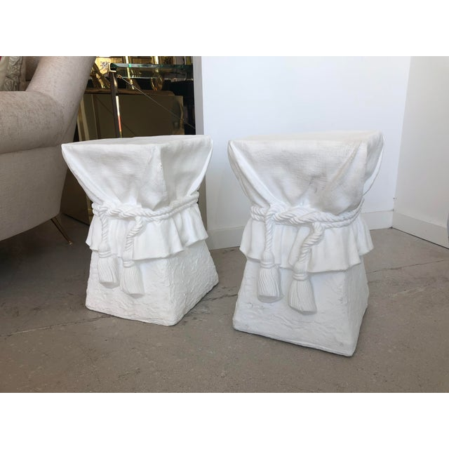 Abstract Pair of White Composition Tables -Style of John Dickinson For Sale - Image 3 of 6