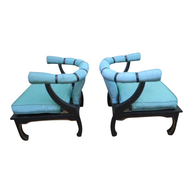 James Mont Style Asian Lounge Chairs - A Pair For Sale