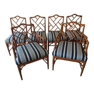 Faux Bamboo Chinese Chippendale Dining Chairs - Set of 6