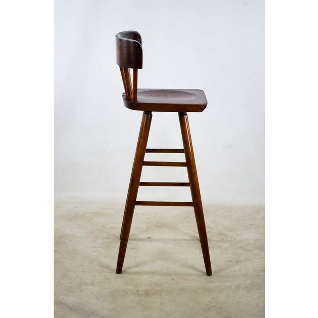 1900s English Traditional Mahogany Bar Stools - a Pair For Sale - Image 4 of 13