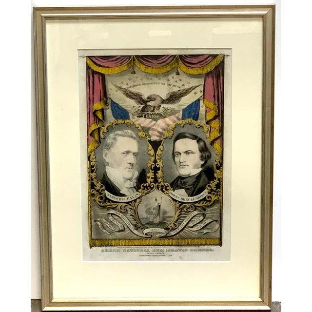 1856 N. Currier Buchanan & Breckenridge Grand National Democratic Banner For Sale - Image 9 of 11