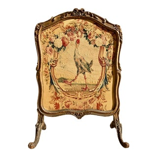 18th Century Vintage Louis XV La Fontain Tapestry Carved Firescreen For Sale
