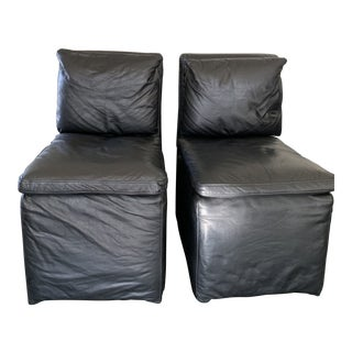 Modern Restoration Hardware Black Leather Cloud Dining Chairs- A Pair For Sale