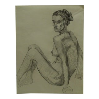 """Mid-Century Modern Original Drawing on Paper, """"Leaning Back Nude"""" by Tom Sturges Jr. For Sale"""