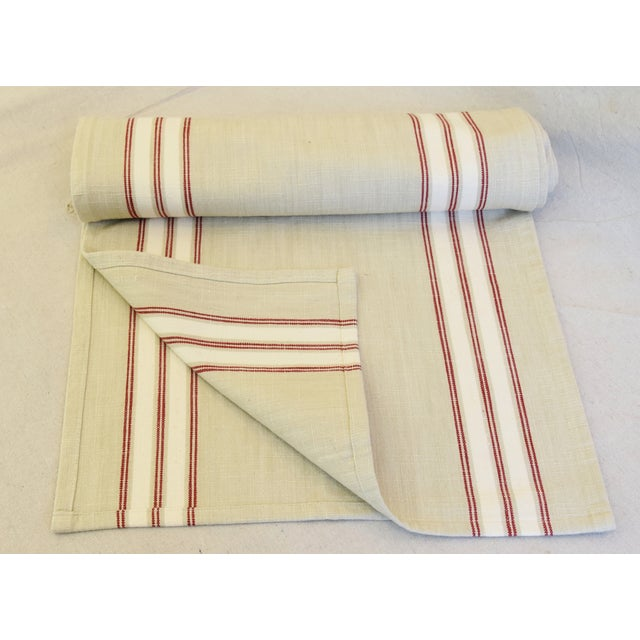 """Custom tailored 110""""L table runner created from vintage/never used woven cotton blended fabric in a cream, red and white..."""