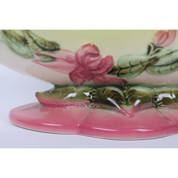 Mid-Century Modern Hull Pottery Woodland Console Bowl W 29 & Candle Holders W 30 - Set of 3 For Sale - Image 3 of 13