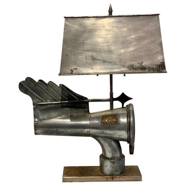 Custom Antique Industrial Ventilation Cone, by Banners No. 11593, Now as a Lamp For Sale - Image 13 of 13