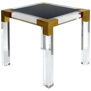 Custom Lucite Side Table With Interchangeable Tops and Gold Leaf Accents For Sale