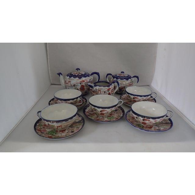 From Connecticut Shoreline Estate Beautiful Antique Japanese landscape handpainted porcelain Tea set with Geisha girls...
