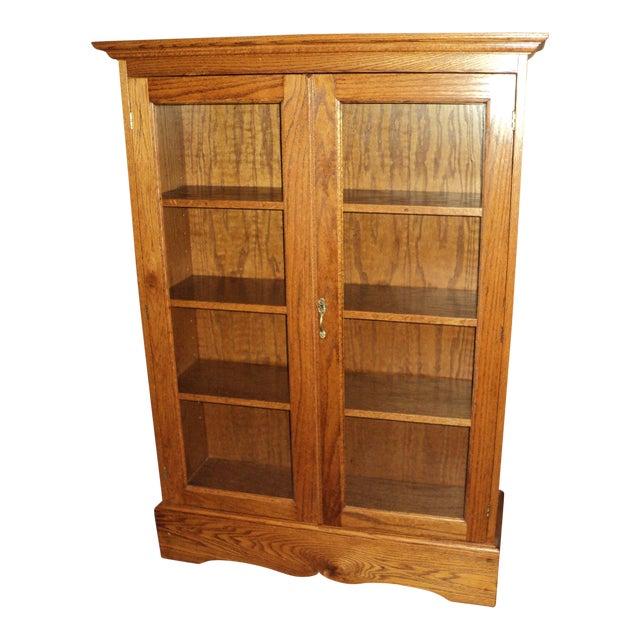 Custom Built Two Door Solid Oak Bookcase For Sale