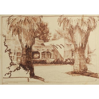 Adobe House & Palm Trees Drawing For Sale