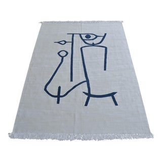Paul Klee - Lady Apart Inspired Silk Hand Woven Area Kilim Wall Rug 4′9″ × 6′9″