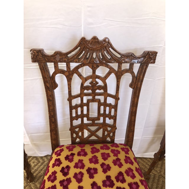 1970s Vintage Pagoda Wooden Carved Dining Chairs - Set of 4 For Sale - Image 5 of 13