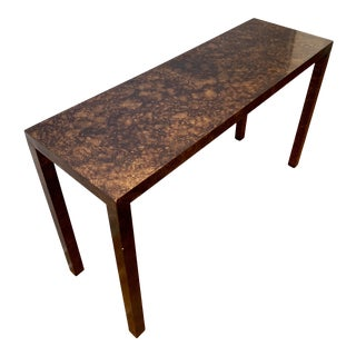 Mid Century Modern Lane Faux Tortoise Shell Parsons Console Table For Sale