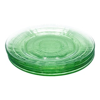 "Vintage Set of 5 Anchor Hocking ""Block Optic"" Green Uranium Depression Glass Dinner Plates For Sale"