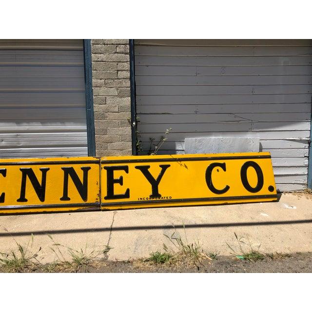 Metal 1920s Antique j.c. Penney Co. 3-Panel Baked Enamel Metal Sign For Sale - Image 7 of 10