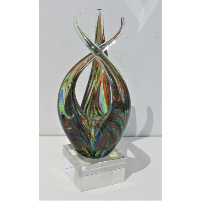 "Vintage Lucite Base ""Flame"" Sculpture Multicolored Glass Murano Style For Sale - Image 9 of 12"