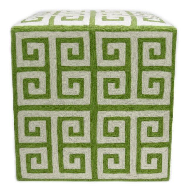 Kashmiri Crewel Ottoman, Green Greek Key For Sale