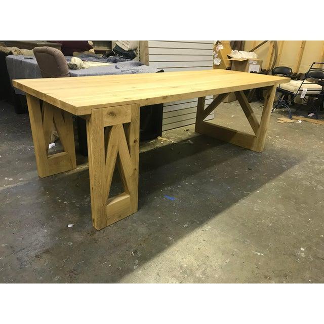 Rustic Oak Finish 8-Foot Farm Table For Sale - Image 9 of 9