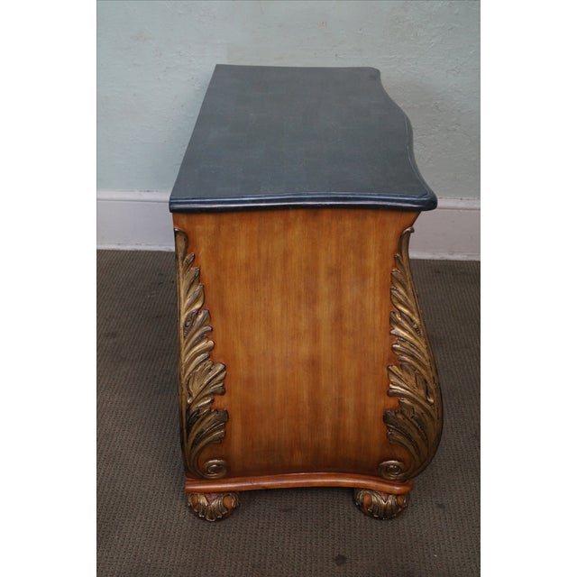 French French Louis XV Style Bombe Marble Top Commode Chest For Sale - Image 3 of 9