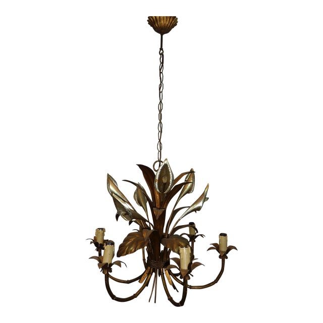 Italian Calla Lily 6-Light Gilded Chandelier - Image 1 of 7