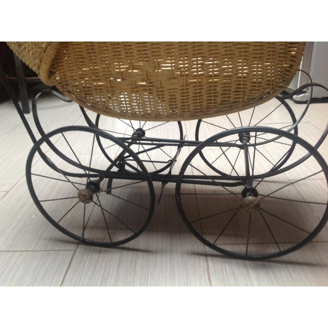 Metal Early 1900's Victorian Baby Wicker Buggy For Sale - Image 7 of 10