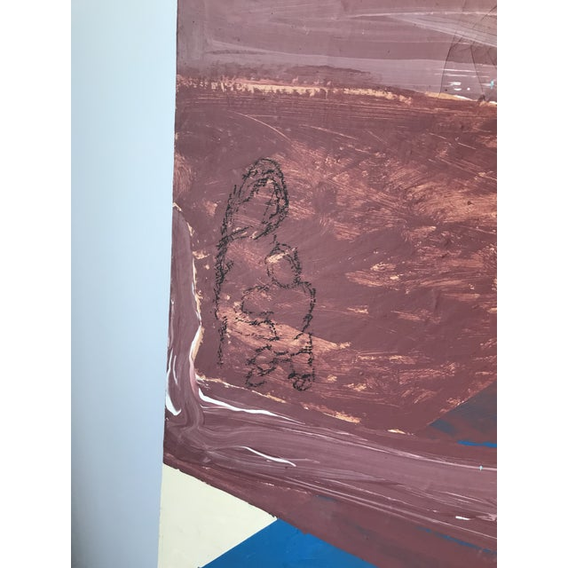 1970s Mid Century Modern Large Original Abstract Oil Painting on Canvas For Sale - Image 5 of 11