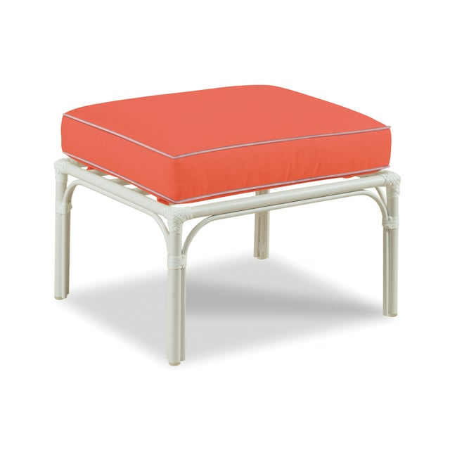 Traditional Haven Outdoor Ottoman, Melon and Blush For Sale - Image 3 of 3
