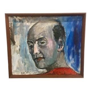 Vintage Mid-Century Pascal Cucaro Modern Self Portrait Painting For Sale