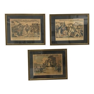 """Early 19th Century Antique """"Imageries D'Epinal"""" Woodcut Prints - Set of 3 For Sale"""