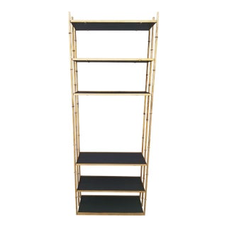 1960s Brass Etagere in Ebonized Mahogany Shelves and Bamboo Motifs For Sale