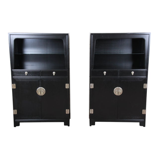 Michael Taylor for Baker Far East Collection Ebonized Chinoiserie Wall Units, Pair For Sale