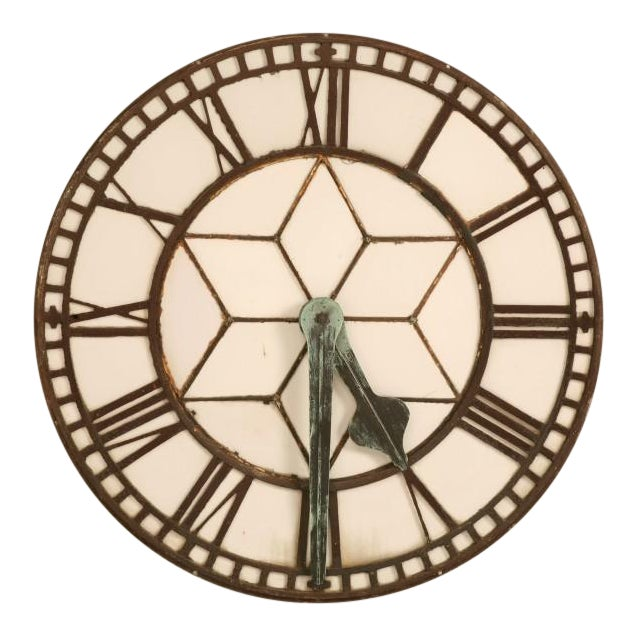 Cast Iron English Clock Face with Copper Hands, circa 1860 For Sale