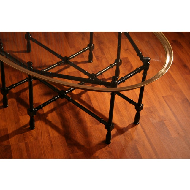 Baker Furniture Company Chippendale Baker Designs Glass and Brass Bamboo Coffee Table For Sale - Image 4 of 5