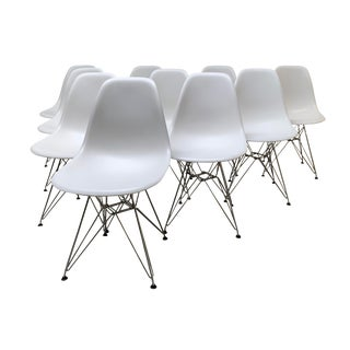 Modern 'Eames' Molded Plastic Wire-Base Side Chairs- Set of 10 For Sale