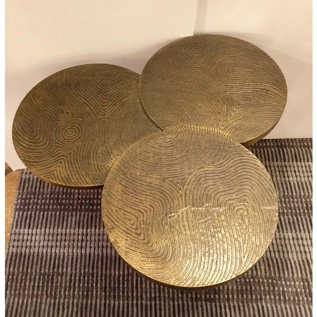 Stylish modern Arteriors Trefle Table Brass Clad and Iron, showroom floor sample, original retail $1800