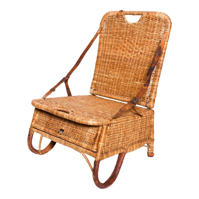 Mid Century Modern Rattan Leather Sculptural Portable Traveling Chair For Sale