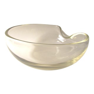 1970s Elsa Perreti for Tiffany & Co. Thumbprint Vaseline Glass Mid Century Modern Decorative Bowl