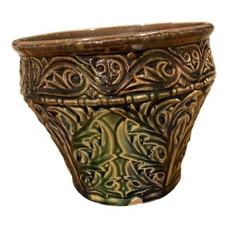 Late 19th Century Majolica Glaze Flower Pot With Thistle Leaf Pattern For Sale