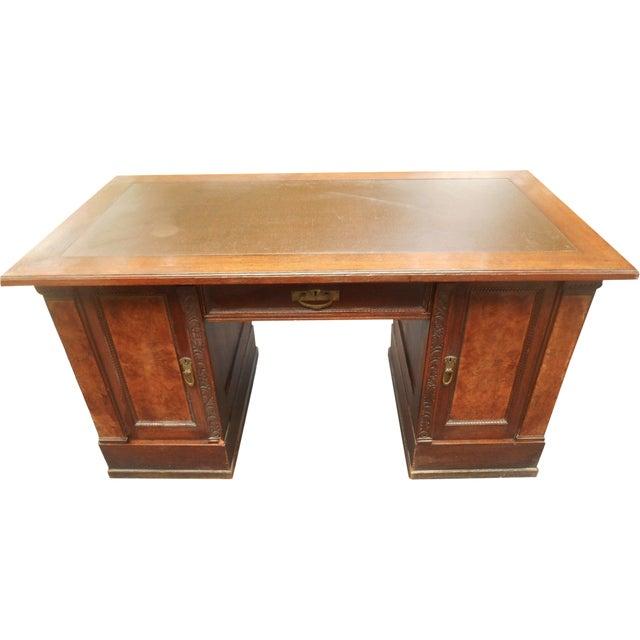 19th-C. Governor Winthrop Tiger Oak Desk - Image 1 of 9