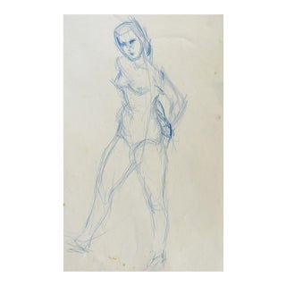 Figure Study in Blue Pencil Drawing For Sale
