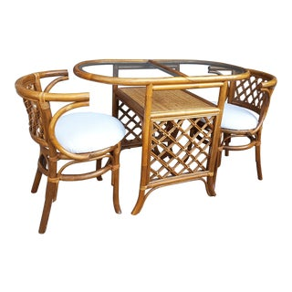 1960s Boho Chic Nesting Bamboo Rattan Cafe Set - 3 Pieces For Sale
