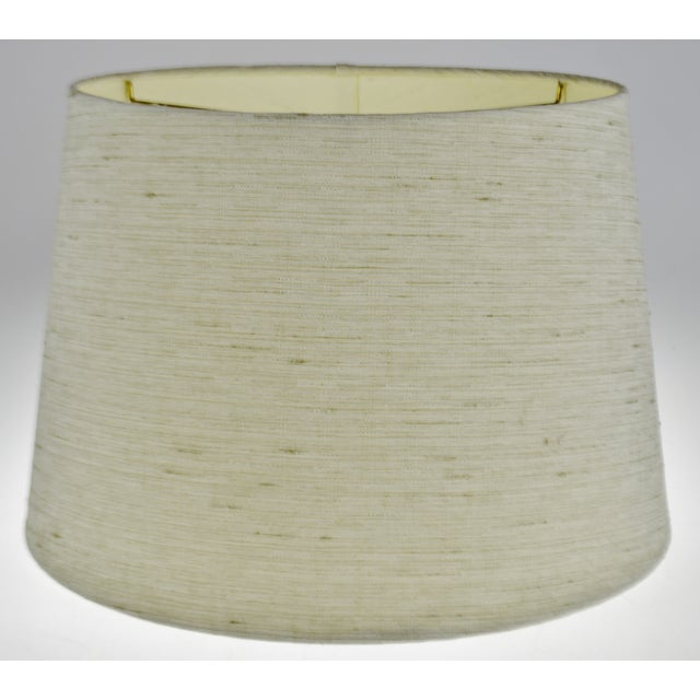 Vintage Linen Fabric Drum Lamp Shade For Sale - Image 9 of 11