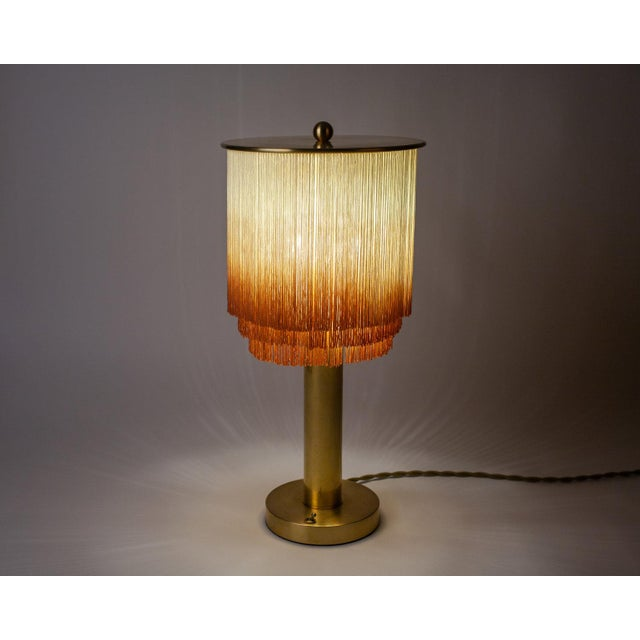 Modern Modern Large Fringe Table Lamp in Cream/Dusty Rose For Sale - Image 3 of 5