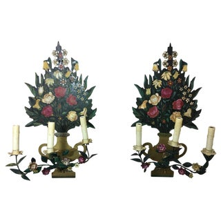 Pair of Painted Flower Back Three-Light Wall Sconces, Mid-20th Century For Sale