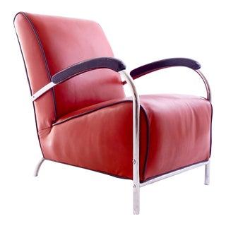 Kem Weber Red Tubular Arm Chair, Vintage Mid-Century Modern For Sale